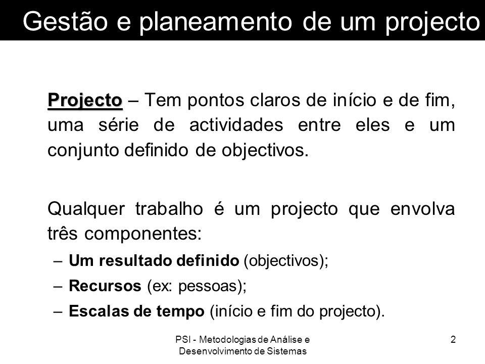Gestão e planeamento de um projecto