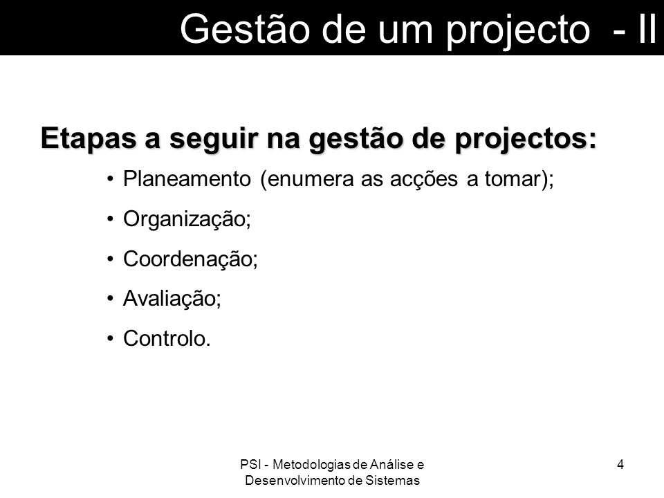 Gestão de um projecto - II