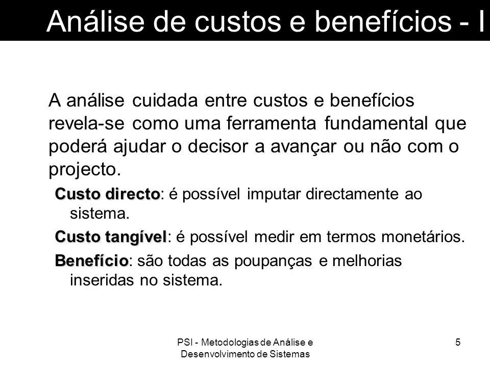 Análise de custos e benefícios - I
