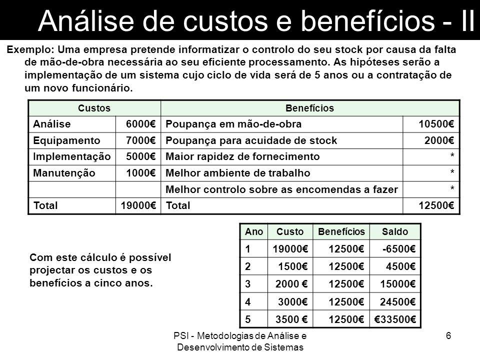 Análise de custos e benefícios - II
