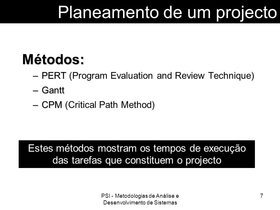 Planeamento de um projecto