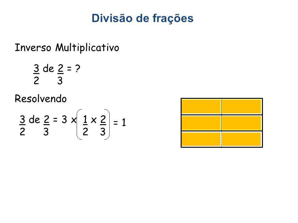 Divisão de frações Inverso Multiplicativo 3 de 2 = 2 3 Resolvendo