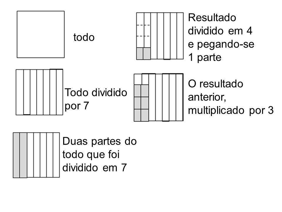 Resultado dividido em 4. e pegando-se. 1 parte. todo. O resultado. anterior, multiplicado por 3.