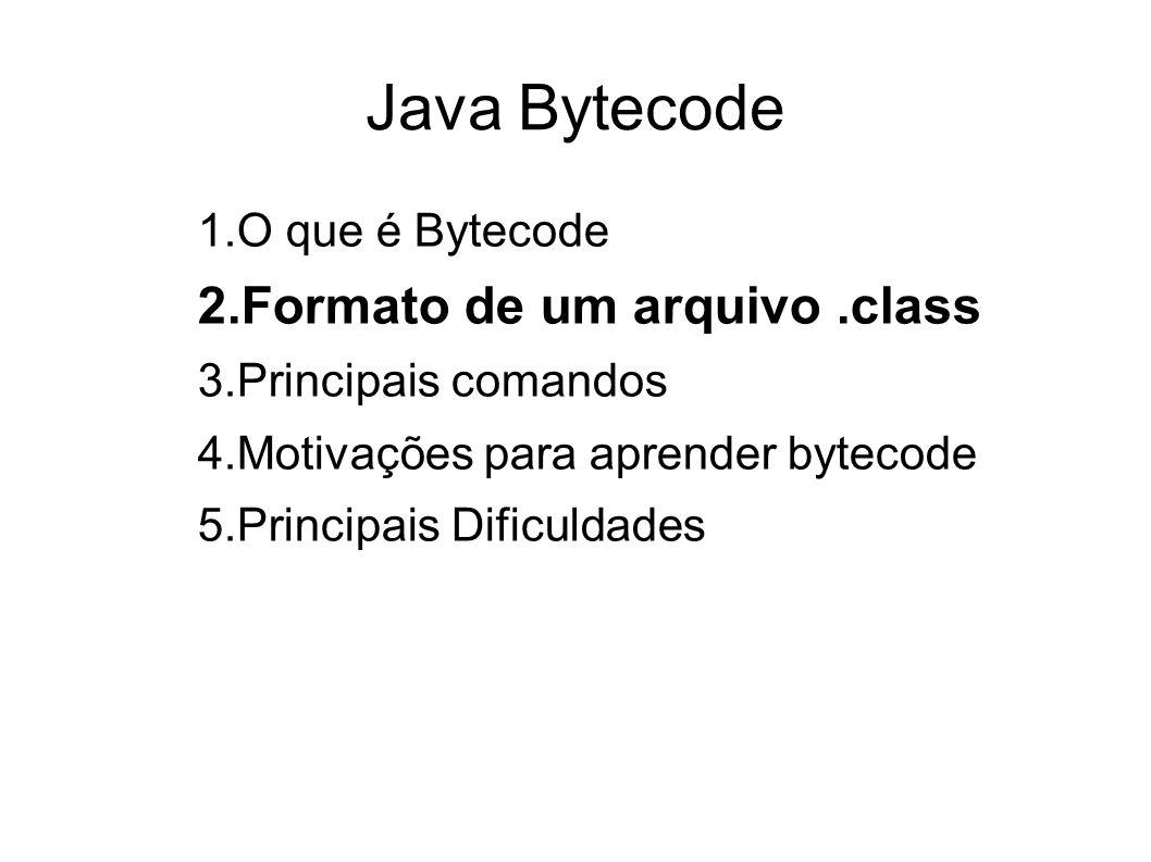Java Bytecode Formato de um arquivo .class O que é Bytecode