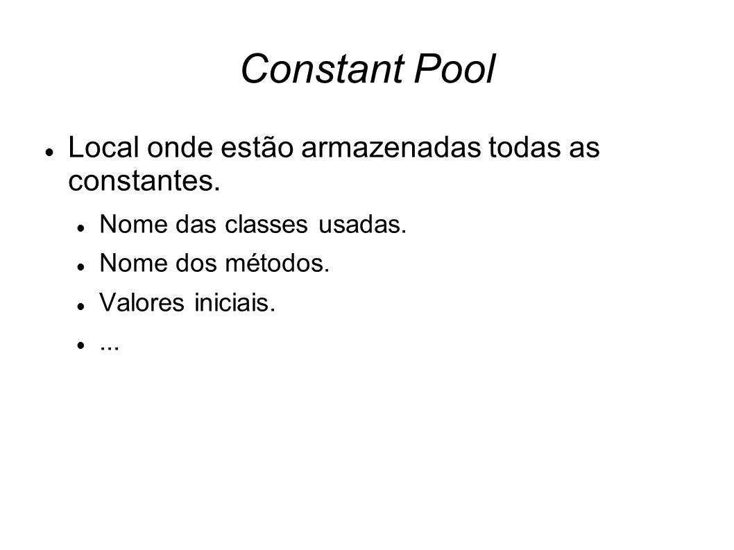 Constant Pool Local onde estão armazenadas todas as constantes.