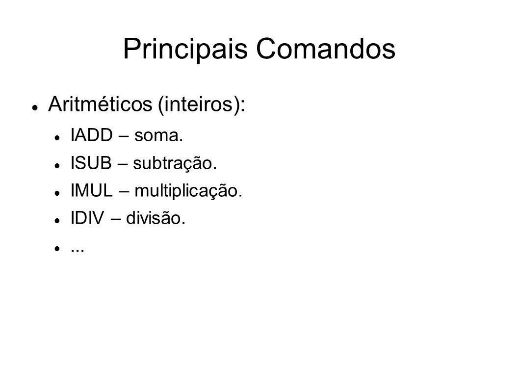 Principais Comandos Aritméticos (inteiros): IADD – soma.
