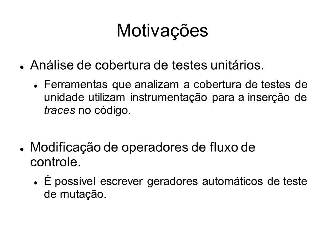 Motivações Análise de cobertura de testes unitários.