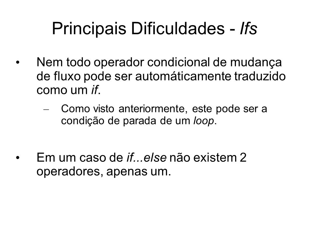Principais Dificuldades - Ifs