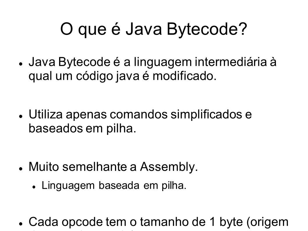 O que é Java Bytecode Java Bytecode é a linguagem intermediária à qual um código java é modificado.
