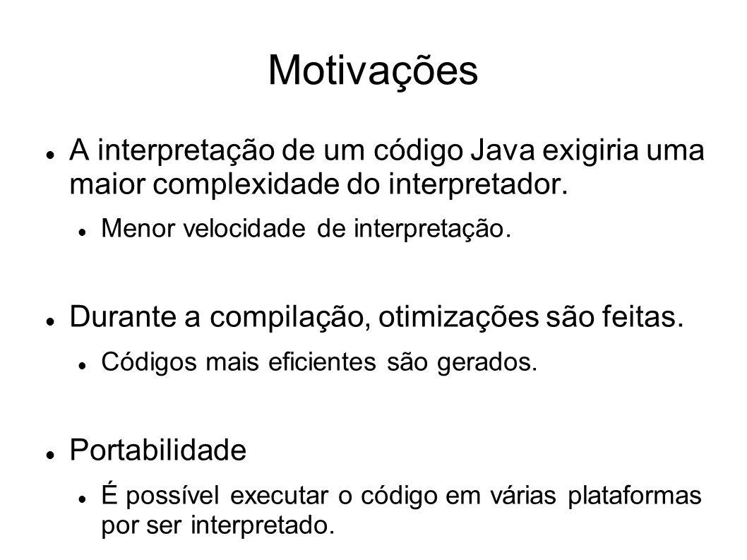 Motivações A interpretação de um código Java exigiria uma maior complexidade do interpretador. Menor velocidade de interpretação.