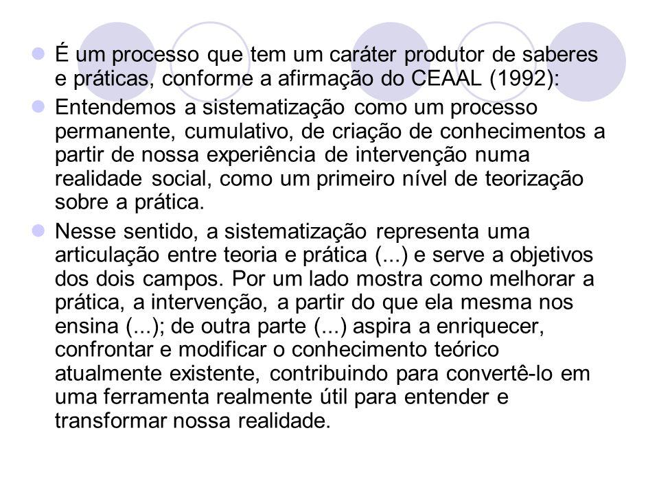 É um processo que tem um caráter produtor de saberes e práticas, conforme a afirmação do CEAAL (1992):