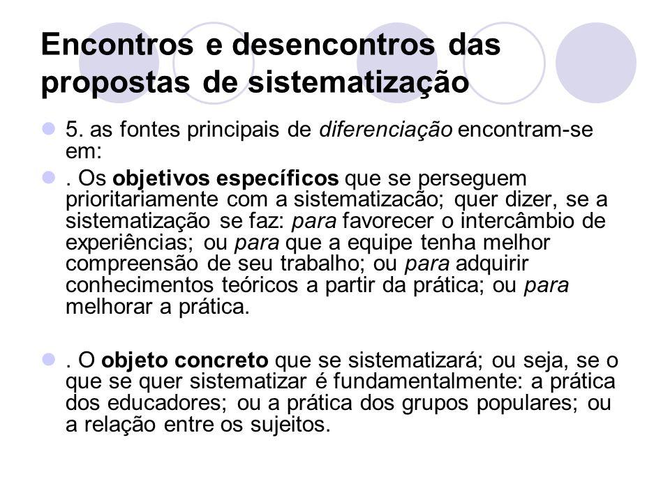 Encontros e desencontros das propostas de sistematização
