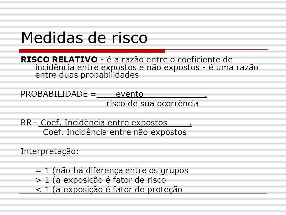Medidas de risco RISCO RELATIVO - é a razão entre o coeficiente de incidência entre expostos e não expostos - é uma razão entre duas probabilidades.