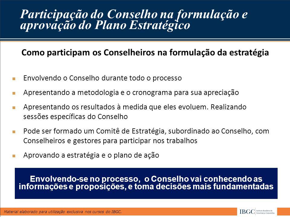Como participam os Conselheiros na formulação da estratégia