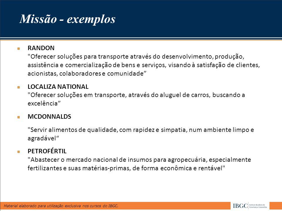 Missão - exemplos