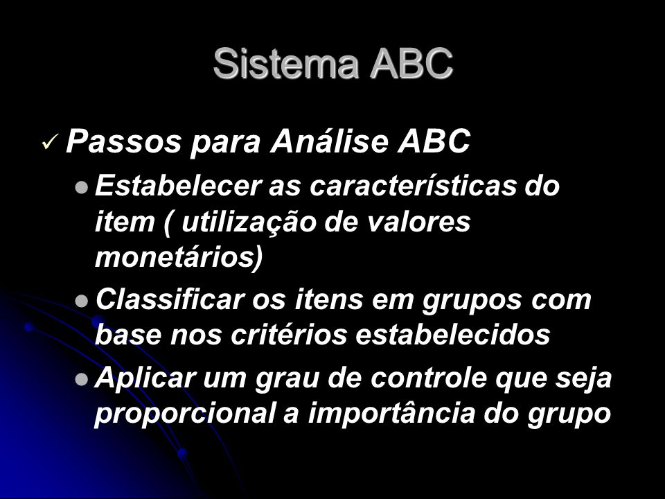 Sistema ABC Passos para Análise ABC