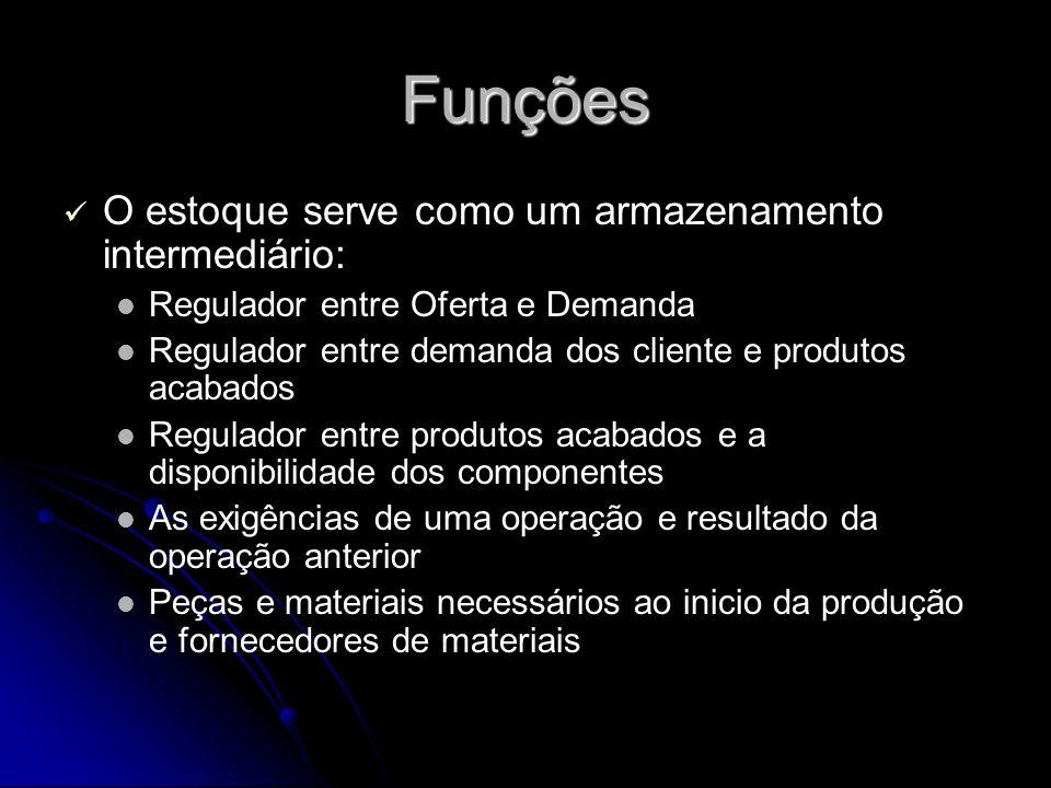 Funções O estoque serve como um armazenamento intermediário: