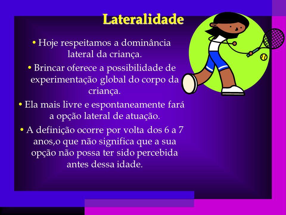 Lateralidade Hoje respeitamos a dominância lateral da criança.