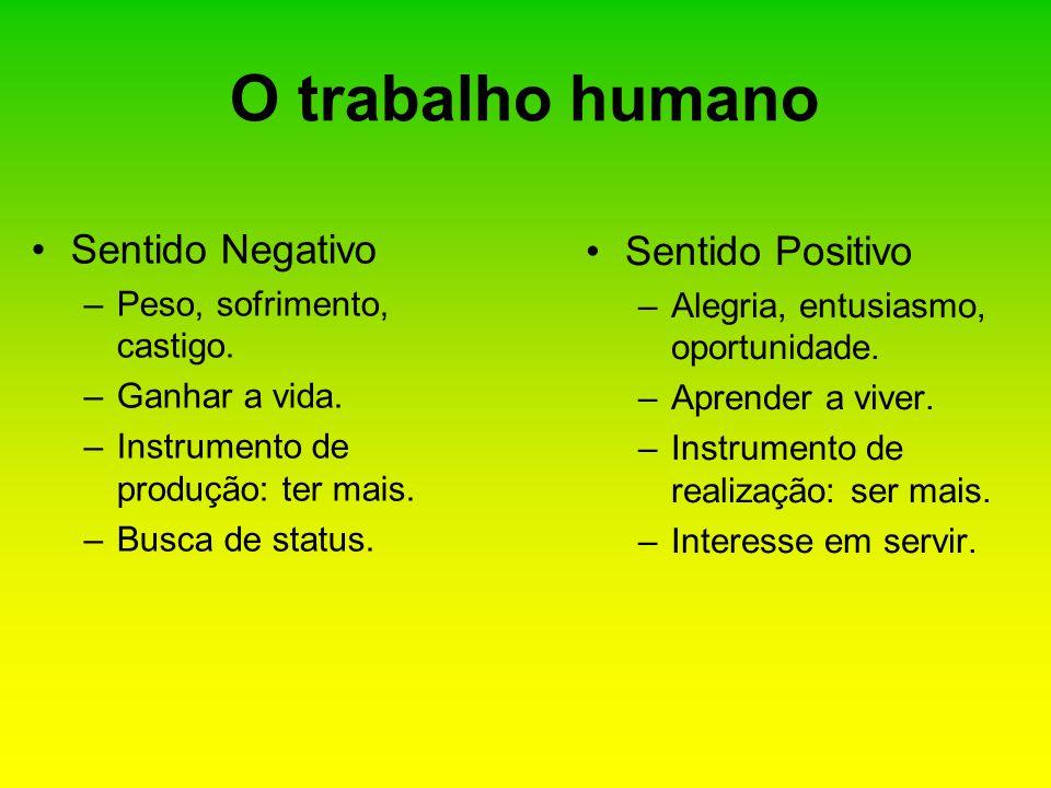 O trabalho humano Sentido Negativo Sentido Positivo