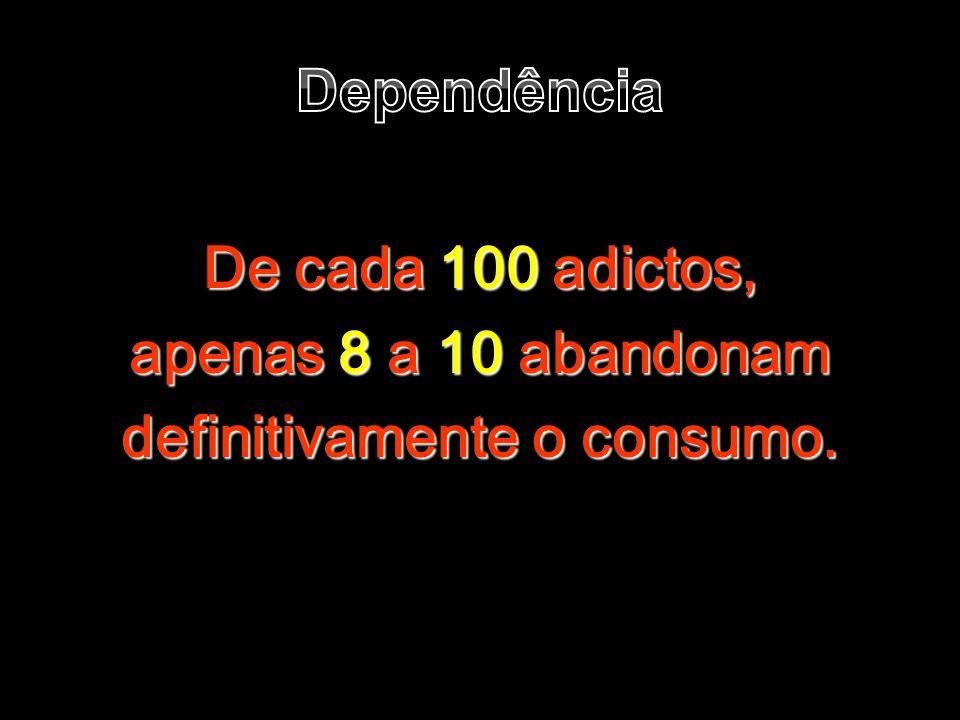 Dependência De cada 100 adictos, apenas 8 a 10 abandonam definitivamente o consumo.