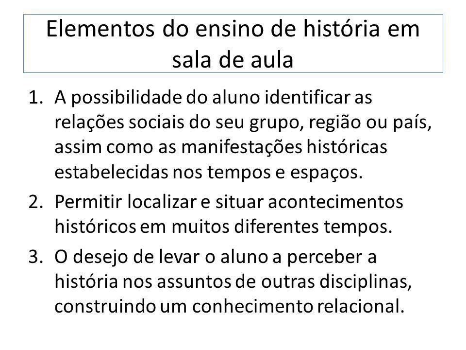 Elementos do ensino de história em sala de aula