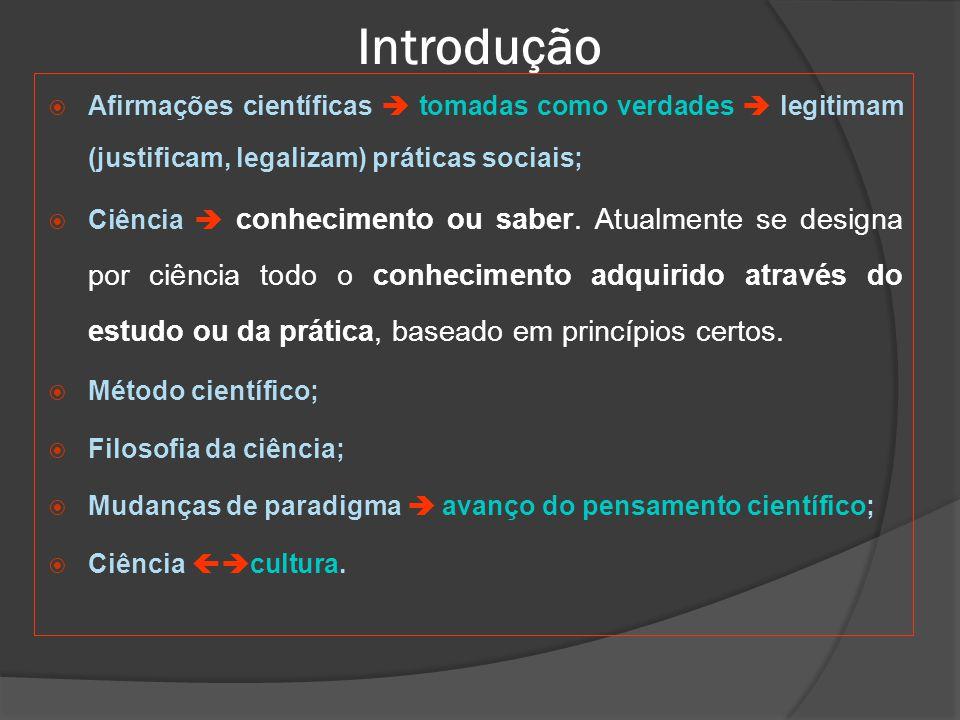 Introdução Afirmações científicas  tomadas como verdades  legitimam (justificam, legalizam) práticas sociais;