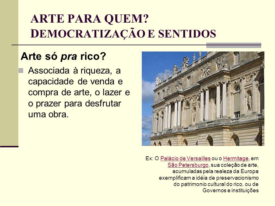 ARTE PARA QUEM DEMOCRATIZAÇÃO E SENTIDOS