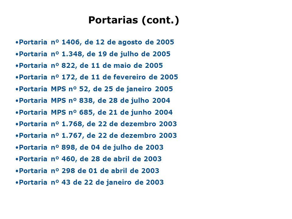 Portarias (cont.) Portaria nº 1406, de 12 de agosto de 2005