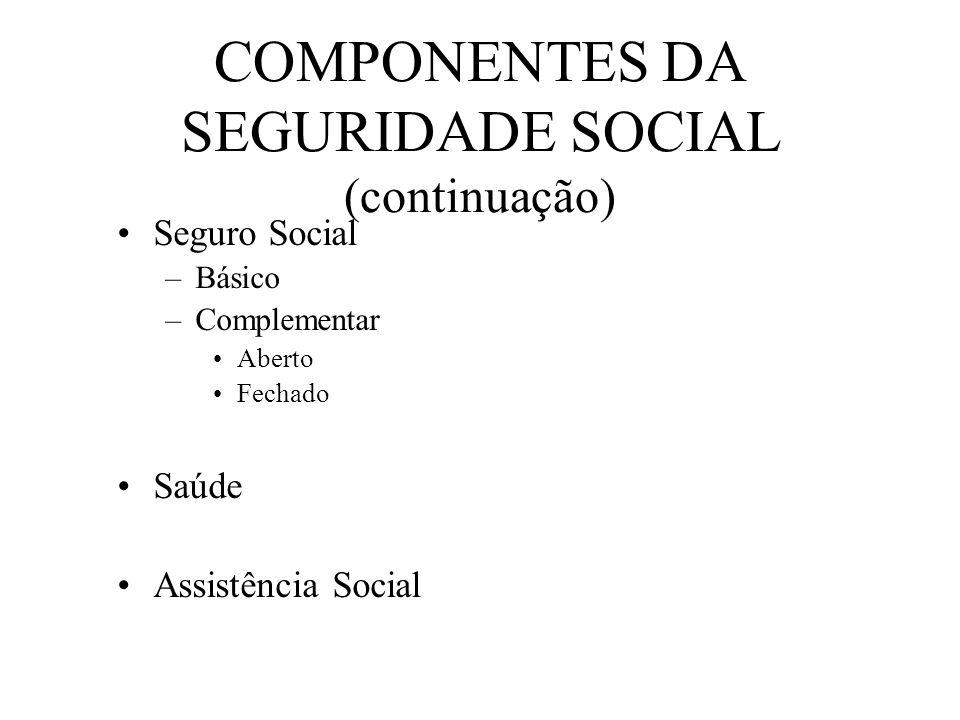 COMPONENTES DA SEGURIDADE SOCIAL (continuação)
