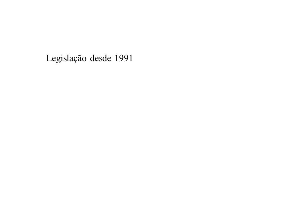 Legislação desde 1991