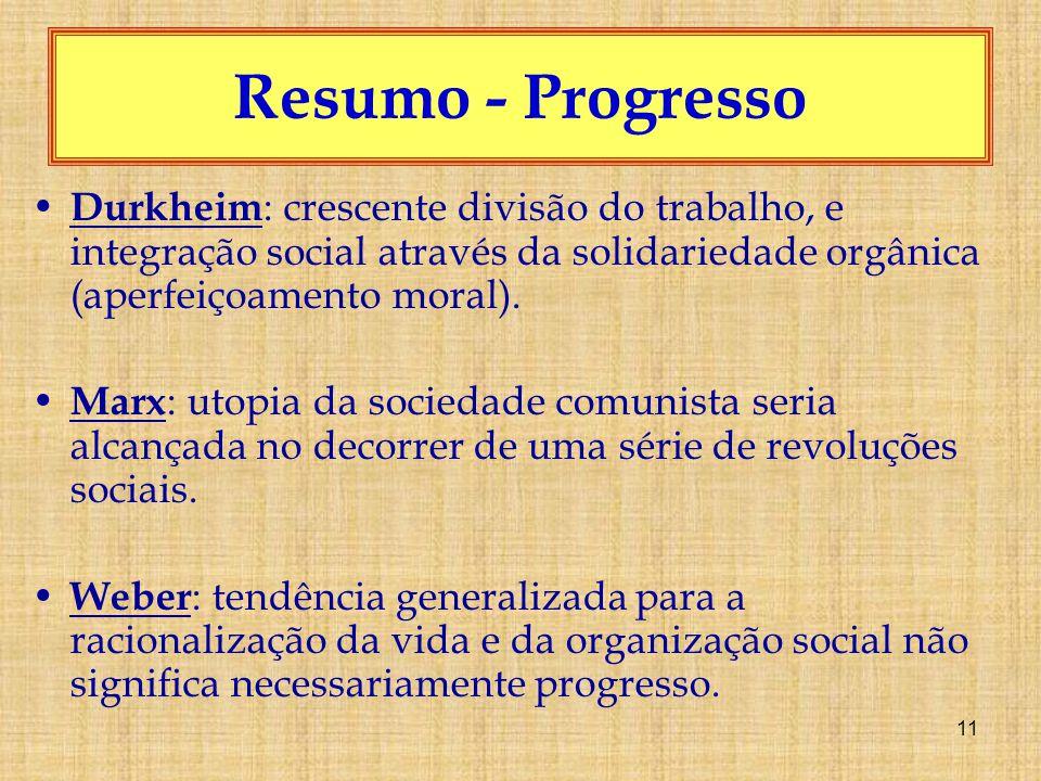 Resumo - Progresso Durkheim: crescente divisão do trabalho, e integração social através da solidariedade orgânica (aperfeiçoamento moral).