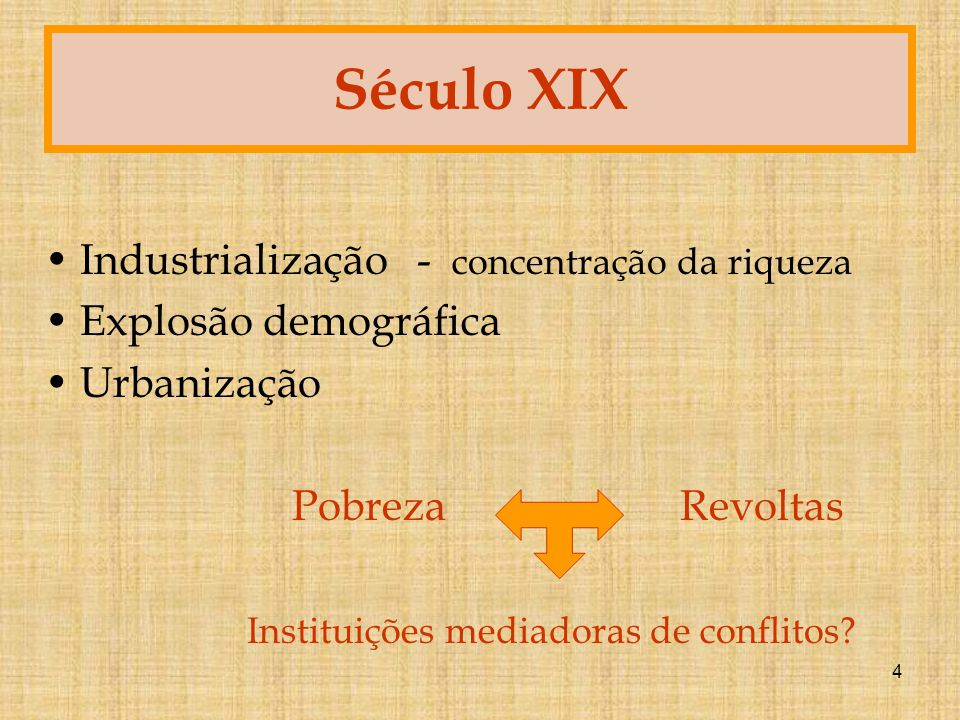Século XIX Industrialização - concentração da riqueza