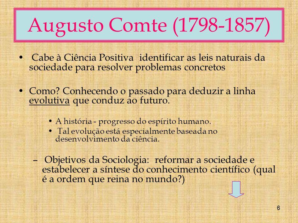 Augusto Comte (1798-1857) Cabe à Ciência Positiva identificar as leis naturais da sociedade para resolver problemas concretos.