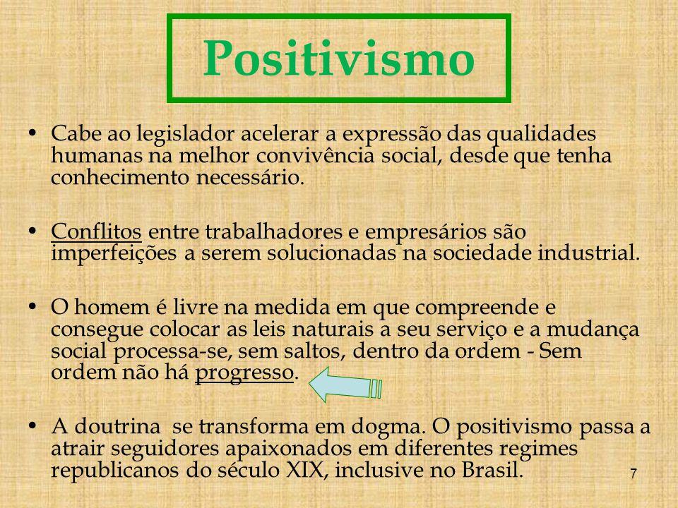 Positivismo Cabe ao legislador acelerar a expressão das qualidades humanas na melhor convivência social, desde que tenha conhecimento necessário.