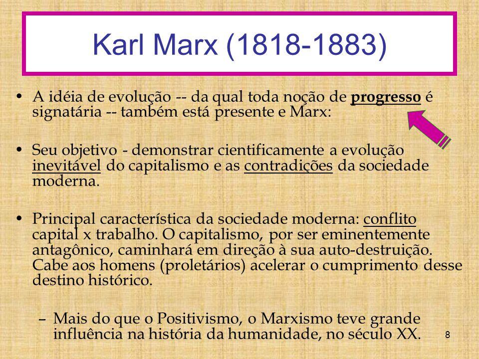 Karl Marx (1818-1883) A idéia de evolução -- da qual toda noção de progresso é signatária -- também está presente e Marx: