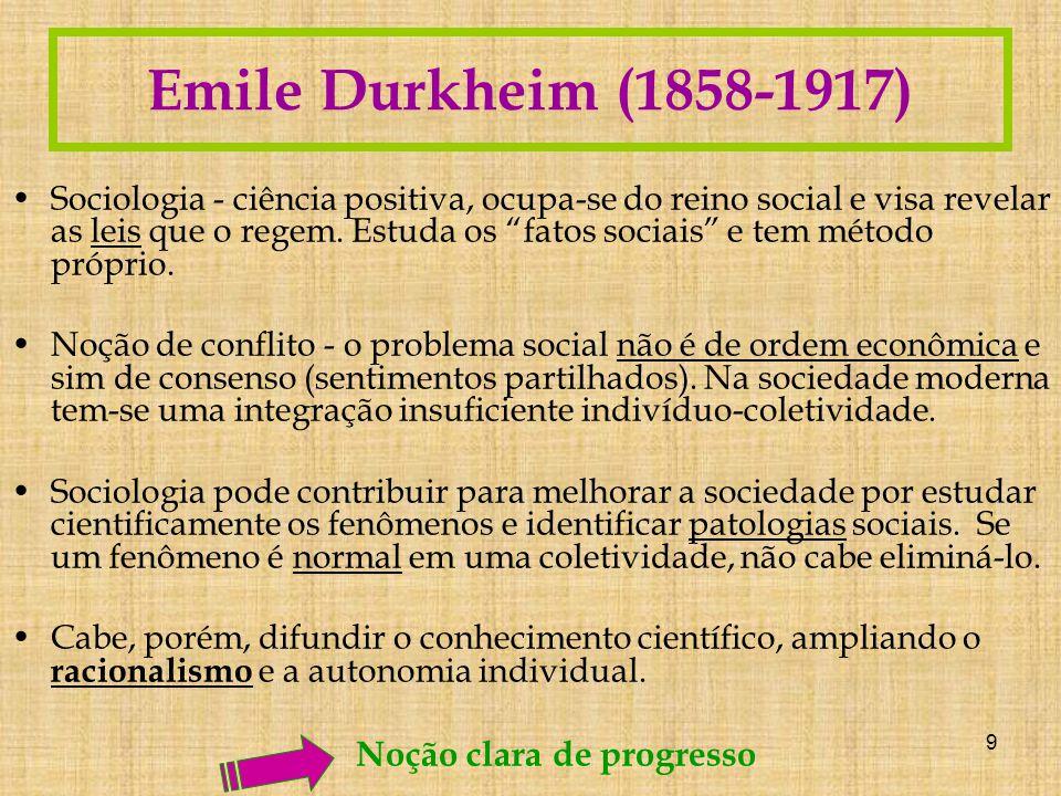 Emile Durkheim (1858-1917) Noção clara de progresso