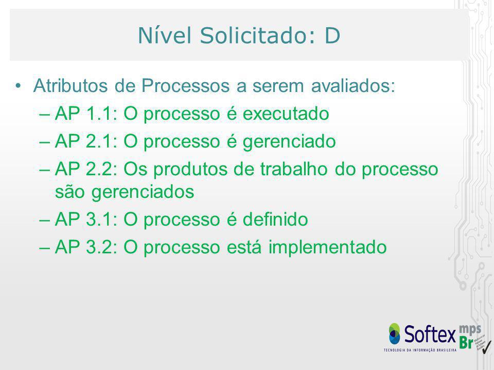 Nível Solicitado: D Atributos de Processos a serem avaliados: