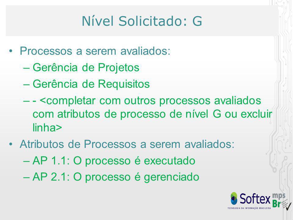 Nível Solicitado: G Processos a serem avaliados: Gerência de Projetos