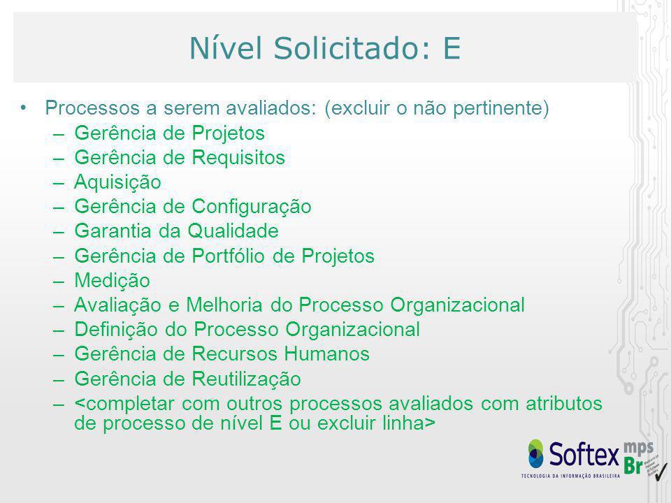 Nível Solicitado: E Processos a serem avaliados: (excluir o não pertinente) Gerência de Projetos. Gerência de Requisitos.
