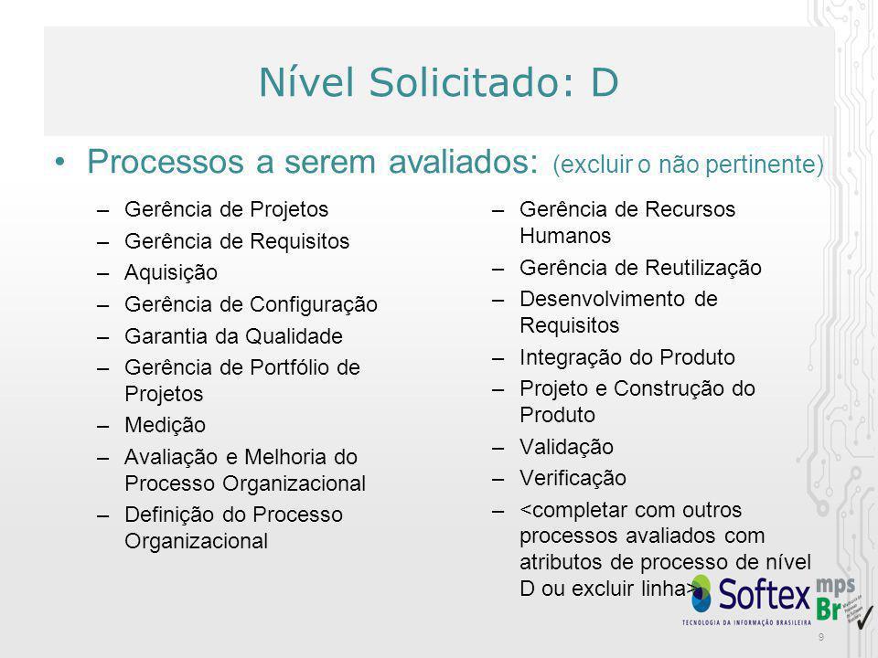 Nível Solicitado: D Processos a serem avaliados: (excluir o não pertinente) Gerência de Projetos. Gerência de Requisitos.