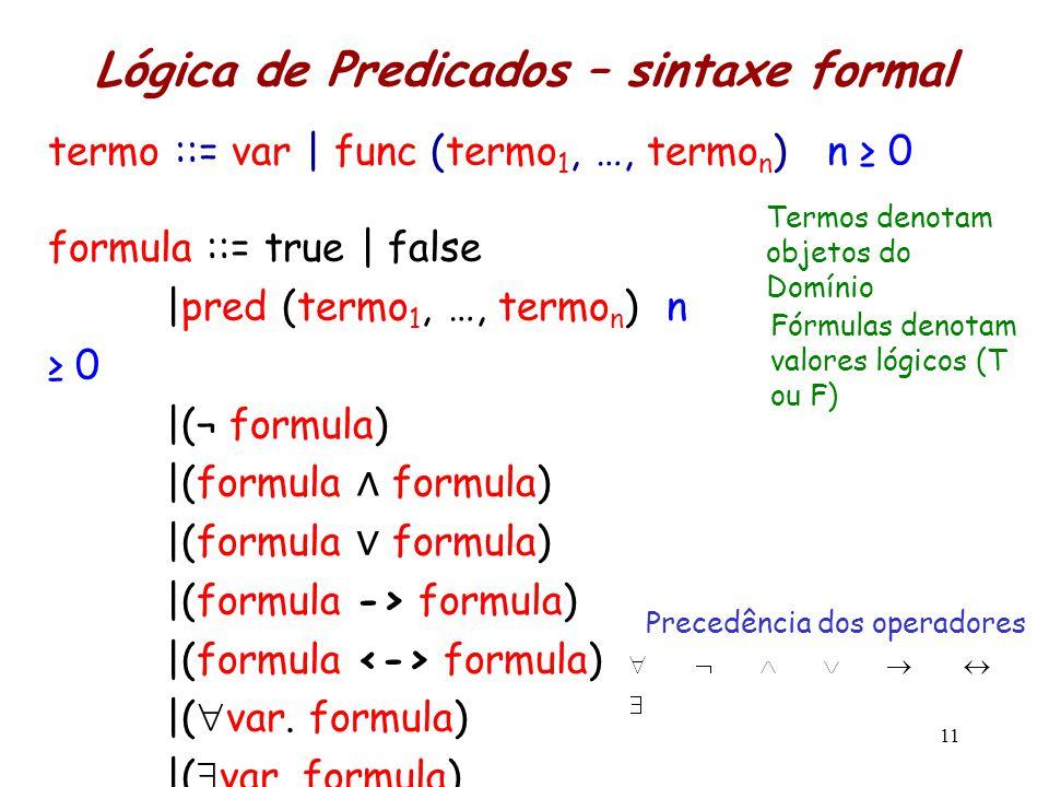 Lógica de Predicados – sintaxe formal