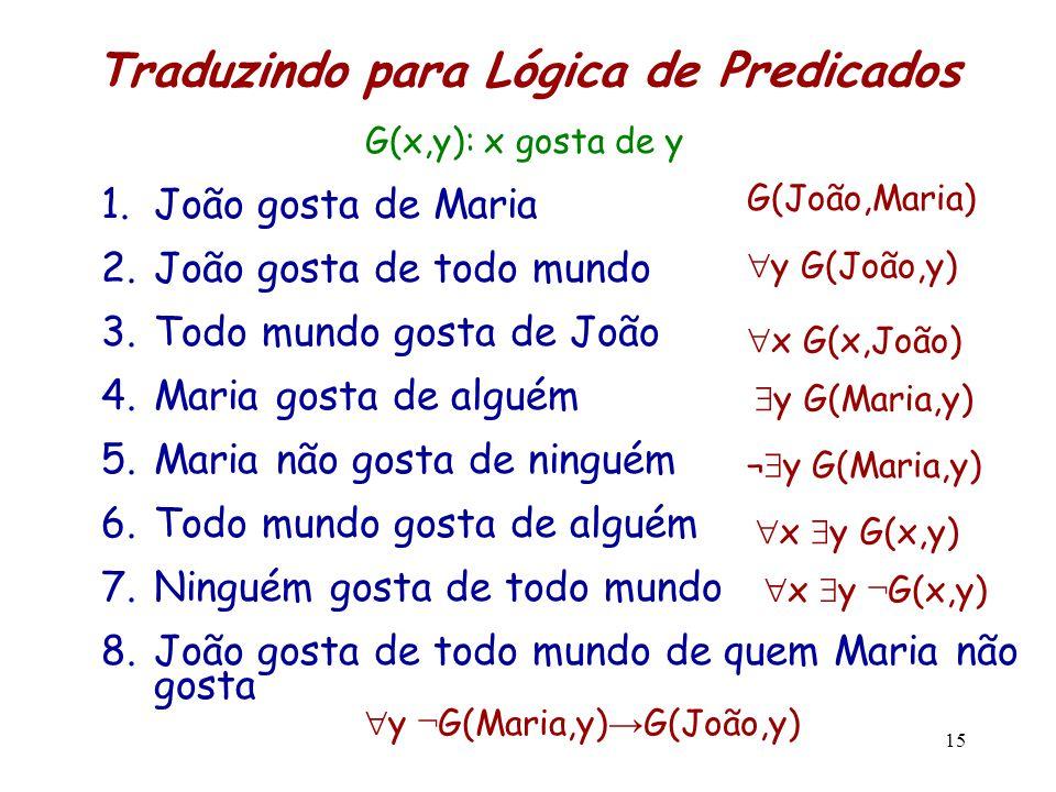 Traduzindo para Lógica de Predicados