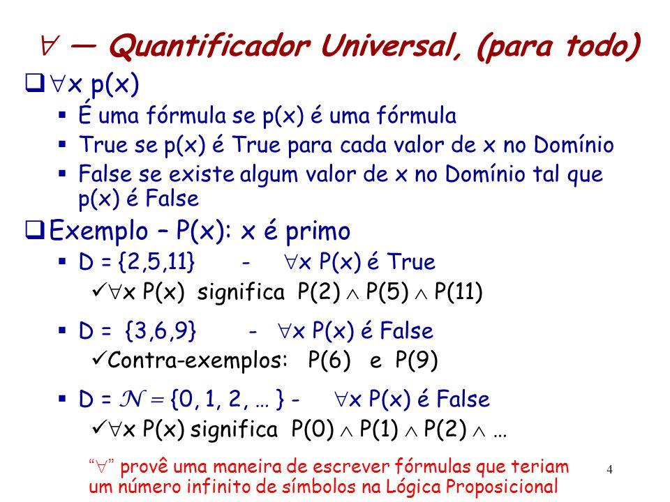  — Quantificador Universal, (para todo)