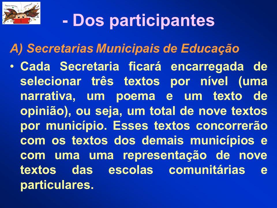 - Dos participantes A) Secretarias Municipais de Educação