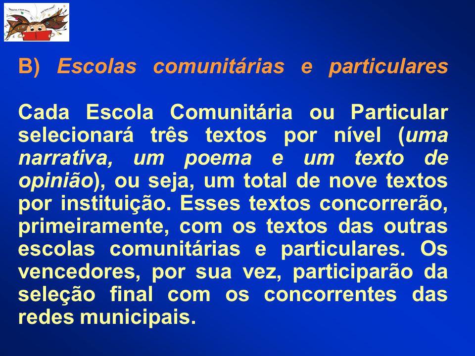 B) Escolas comunitárias e particulares Cada Escola Comunitária ou Particular selecionará três textos por nível (uma narrativa, um poema e um texto de opinião), ou seja, um total de nove textos por instituição.