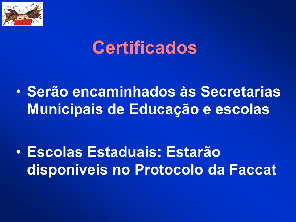 Certificados Serão encaminhados às Secretarias Municipais de Educação e escolas.
