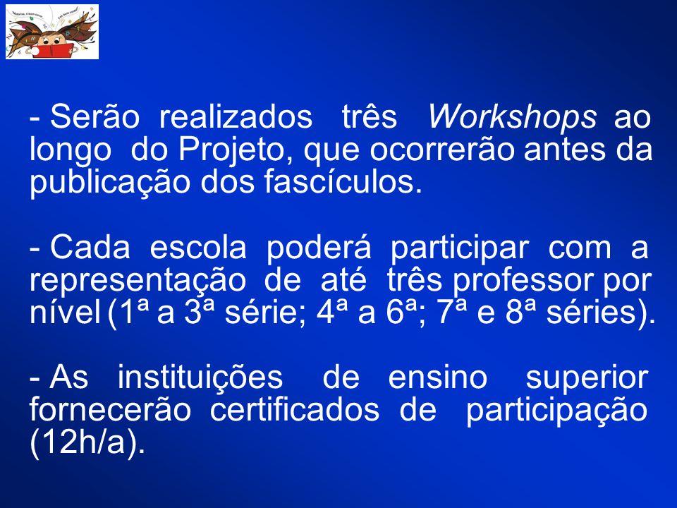 - Serão realizados três Workshops ao longo do Projeto, que ocorrerão antes da publicação dos fascículos.