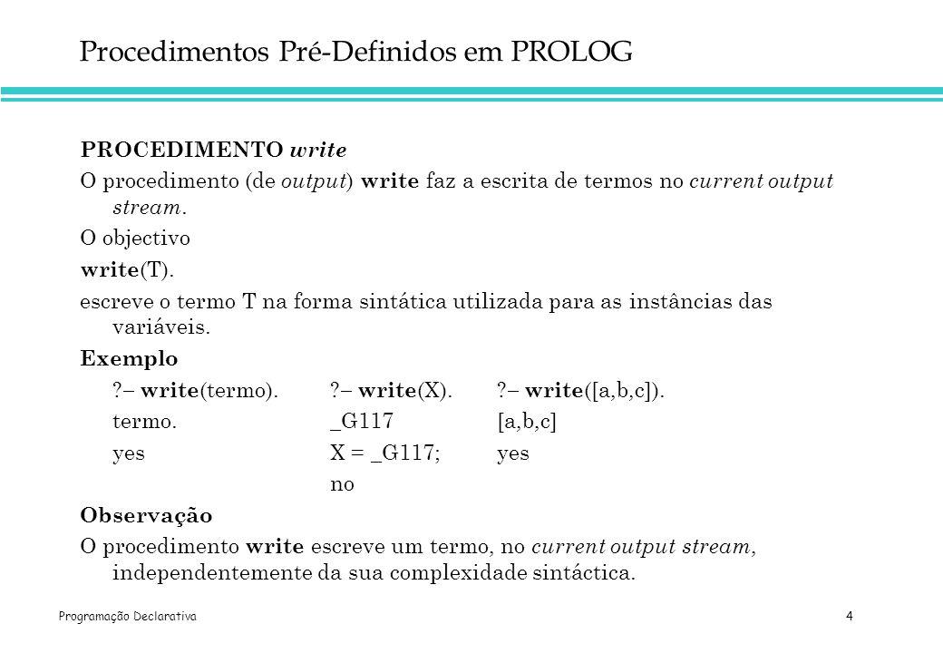 Procedimentos Pré-Definidos em PROLOG