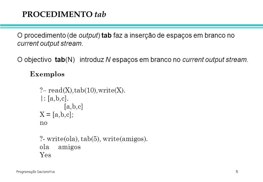 PROCEDIMENTO tab O procedimento (de output) tab faz a inserção de espaços em branco no current output stream.
