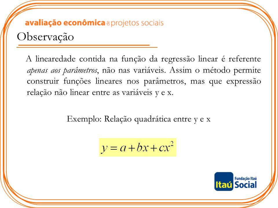 Exemplo: Relação quadrática entre y e x